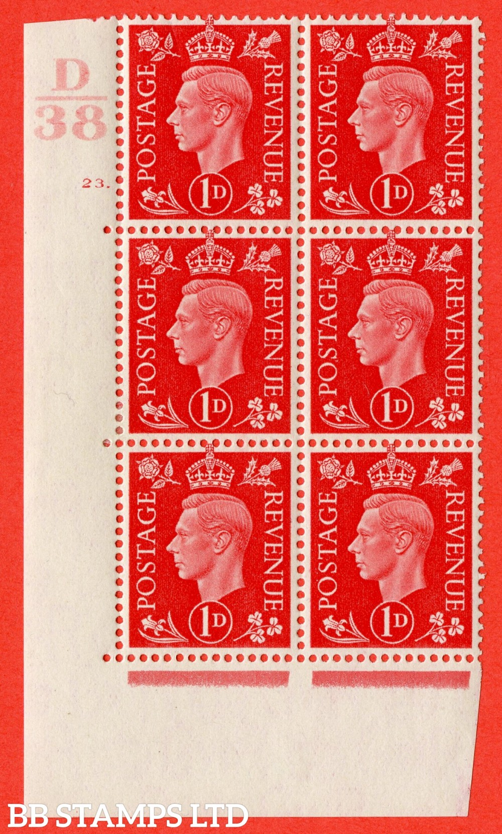 "SG. 463. Q4. 1d Scarlet. A fine lightly mounted mint "" Control D38 cylinder 23 dot "" block of 6 with perf type 5 E/I."