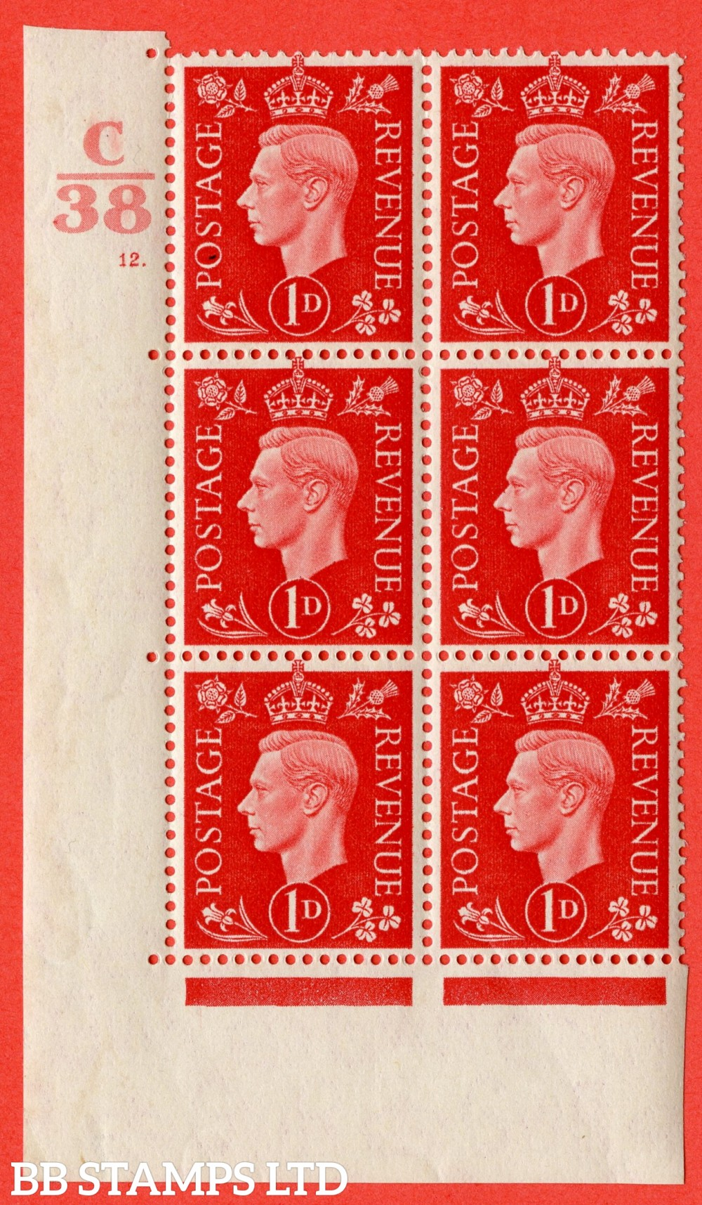 """SG. 463. Q4. 1d Scarlet. A superb UNMOUNTED MINT """" Control C38 cylinder 12 dot """" block of 6 with perf type 5 E/I."""