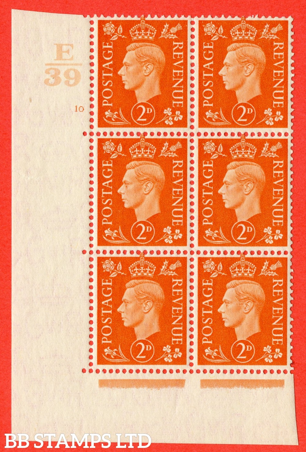"SG. 465. Q10. 2d Orange. A superb UNMOUNTED MINT"" Control E39 cylinder 10 no dot "" control block of 6 with perf type 5 E/I."