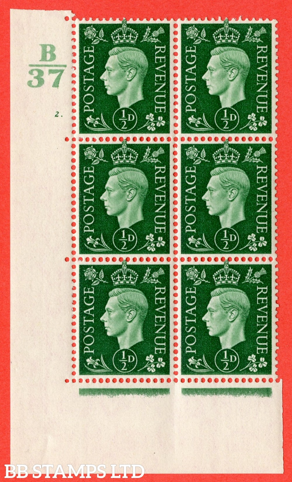 "SG. 462. Q1. ½d Green. A superb UNMOUNTED MINT "" Control B37 cylinder 2 no dot "" block of 6 with perf type 5 E/I."
