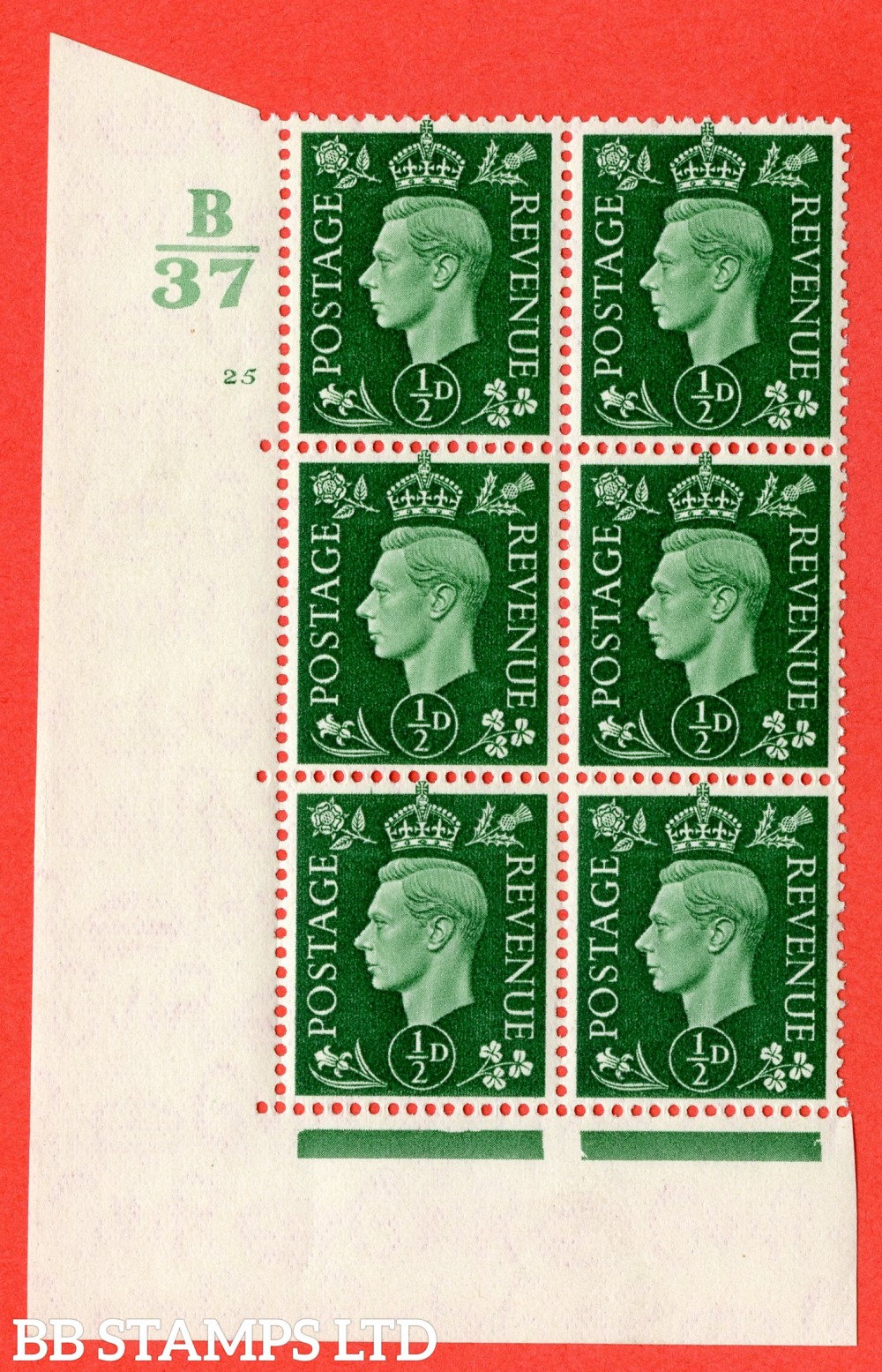 "SG. 462. Q1. ½d Green. A superb UNMOUNTED MINT "" Control B37 cylinder 25 no dot "" block of 6 with perf type 5 E/I."
