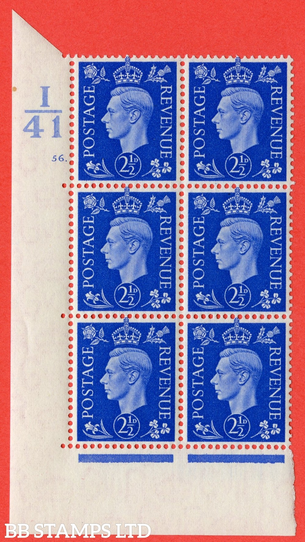 "SG. 466. Q13. 2½d Ultramarine. A superb UNMOUNTED MINT "" Control I41 cylinder 56 dot "" control block of 6 with perf type 5 E/I."