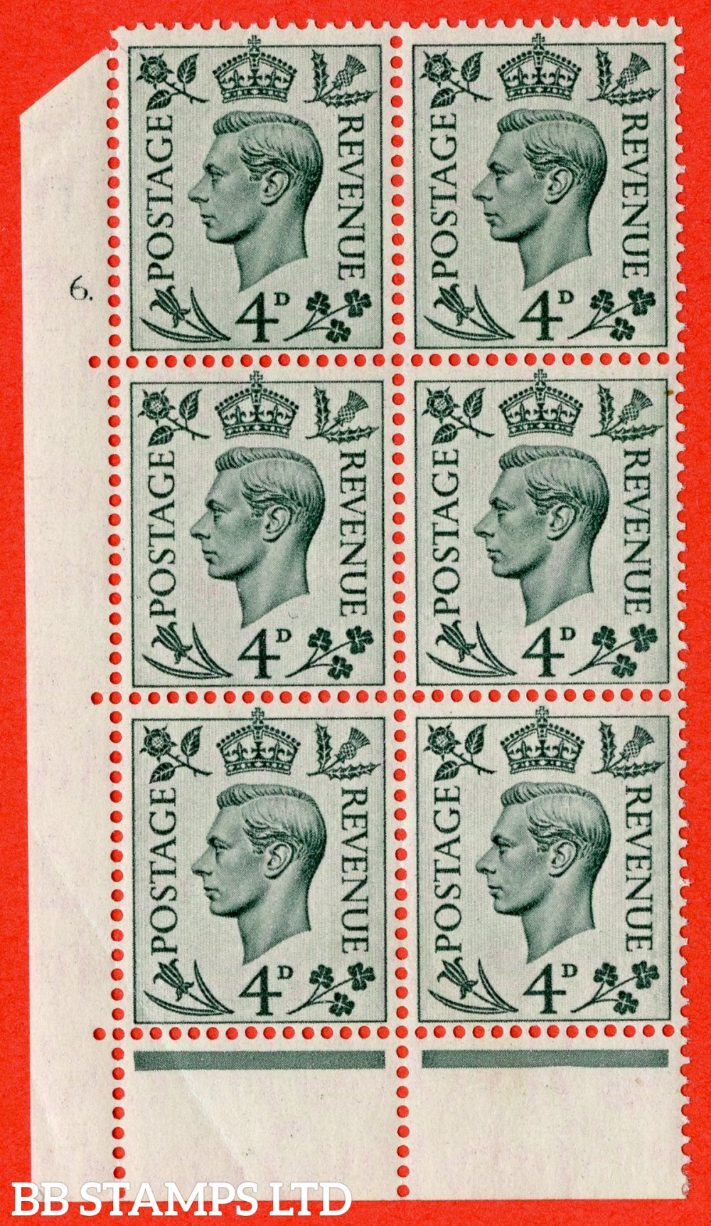 """SG. 468. Q19. 4d Grey-Green. A fine lightly mounted mint. """" No Control. Cylinder 6 dot """" control block of 6 with perf type 6B E/P."""
