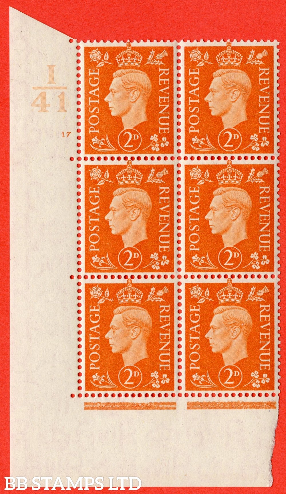 "SG. 465. Q10. 2d Orange. A superb UNMOUNTED MINT "" Control I41 cylinder 17 no dot "" control block of 6 with perf type 5 E/I."