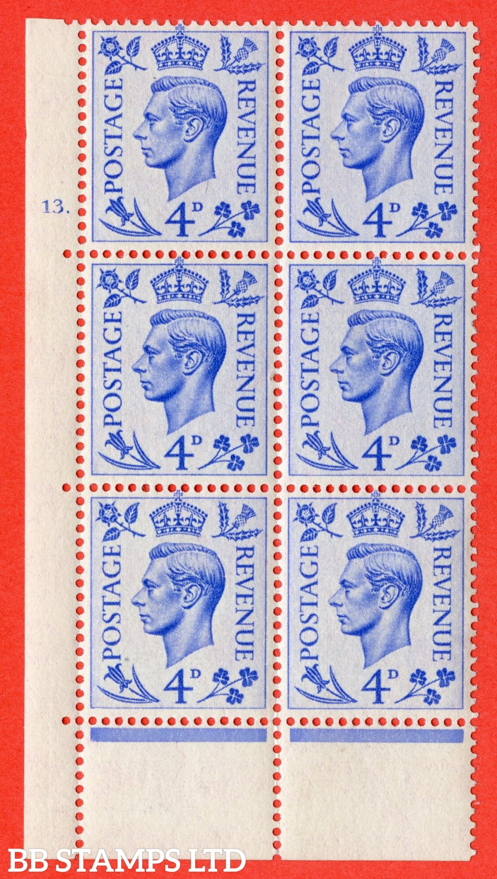 "SG. 508. Q20. 4d Light-Ultramarine. A superb UNMOUNTED MINT. "" No Control cylinder 13 dot "" control block of 6 with perf type 6B E/P."