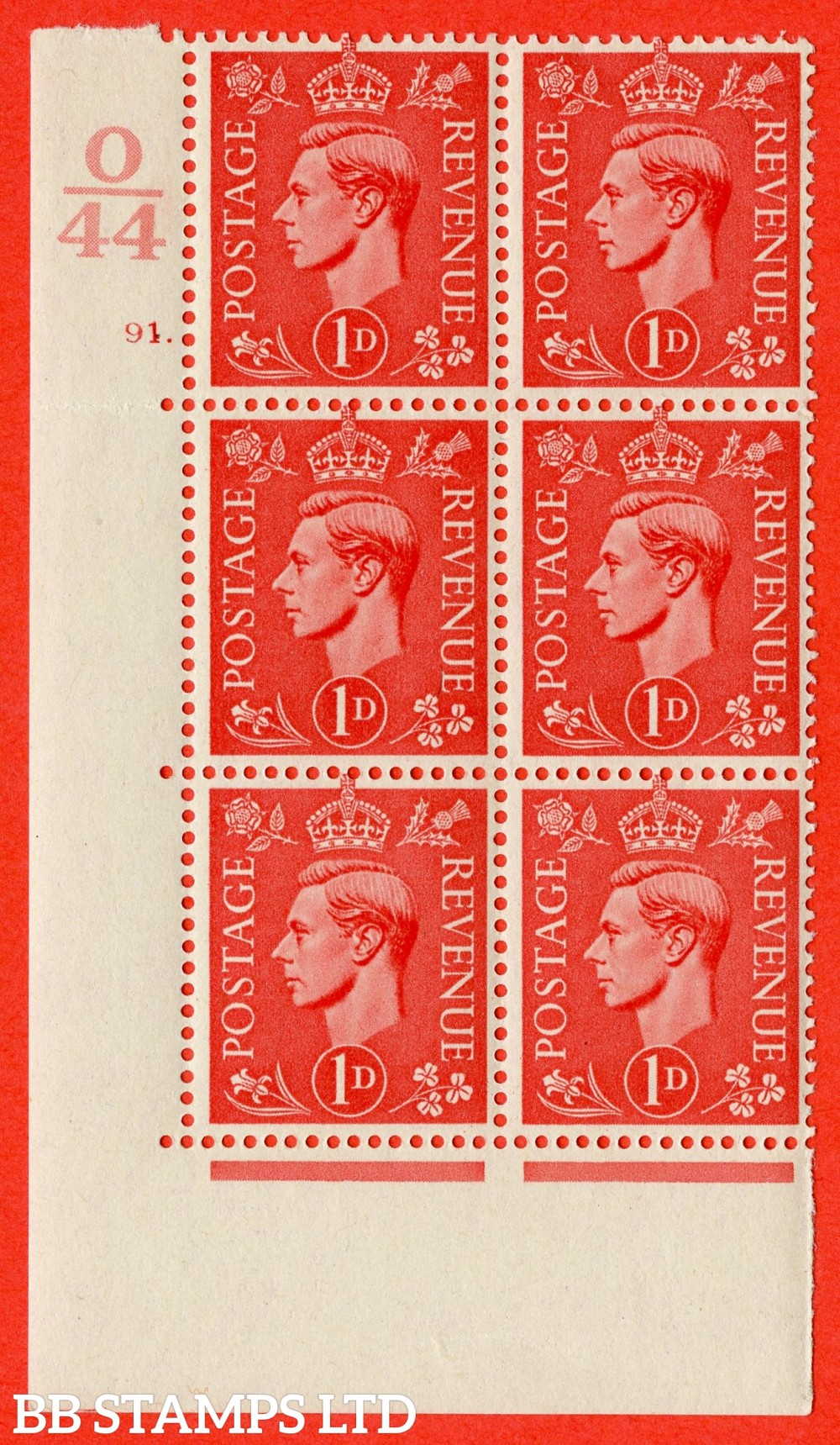 "SG. 486. Q5. 1d Pale scarlet. A superb UNMOUNTED MINT "" Control O44  cylinder 91 dot "" control block of 6 with perf type 5 E/I."