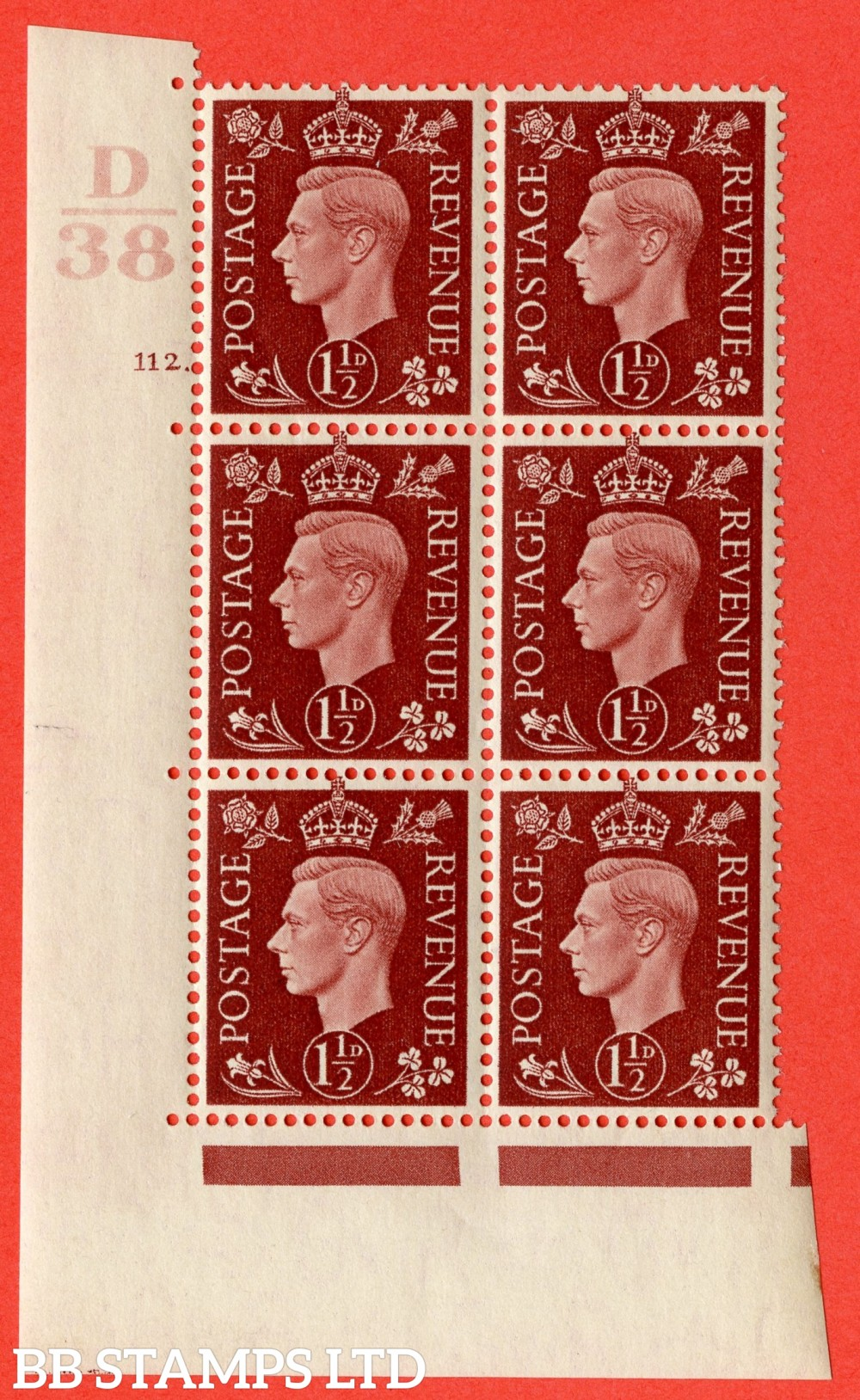 "SG. 464. Q7. 1½d Red-Brown. A superb UNMOUNTED MINT "" Control D38 cylinder 112 no dot "" block of 6 with perf type 5 E/I."