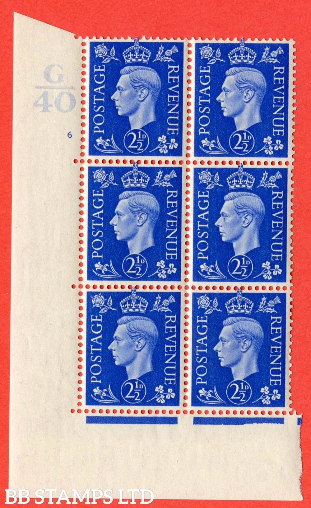 "SG. 466. Q13. 2½d Ultramarine. A superb UNMOUNTED MINT "" Control G40 cylinder 6 (i) no dot "" control block of 6 with perf type 5 E/I."