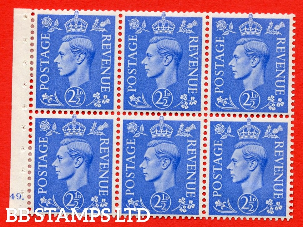 """SG. 489f. QB33. 2½d blue. A fine MOUNTED MINT complete Cylinder pane of 6 J49 dot. Perf type """"B6(IE)"""". Good Perfs."""