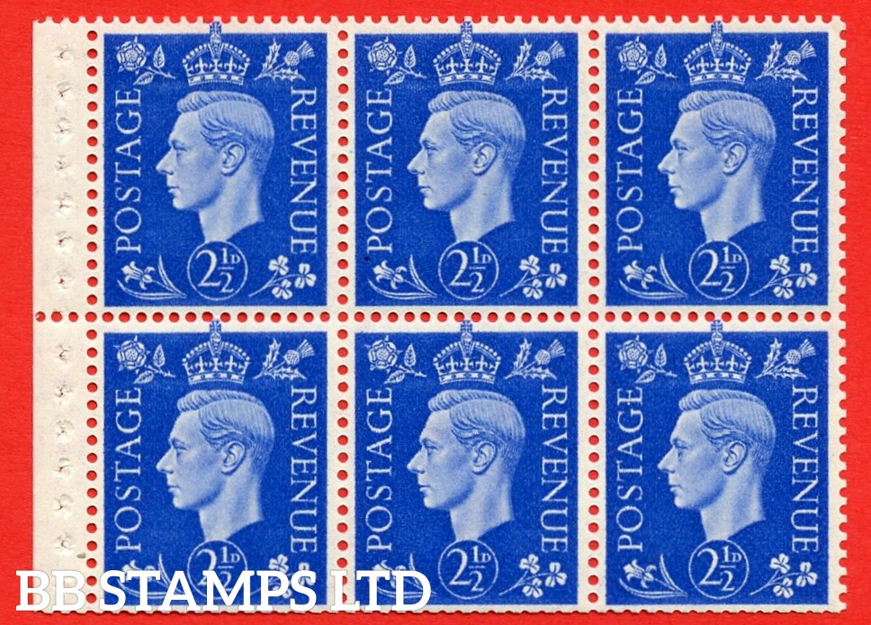 SG. 466 c. QB32. 2½d blue. A fine MOUNTED MINT booklet pane of 6. Perf type P. Trimmed perfs.