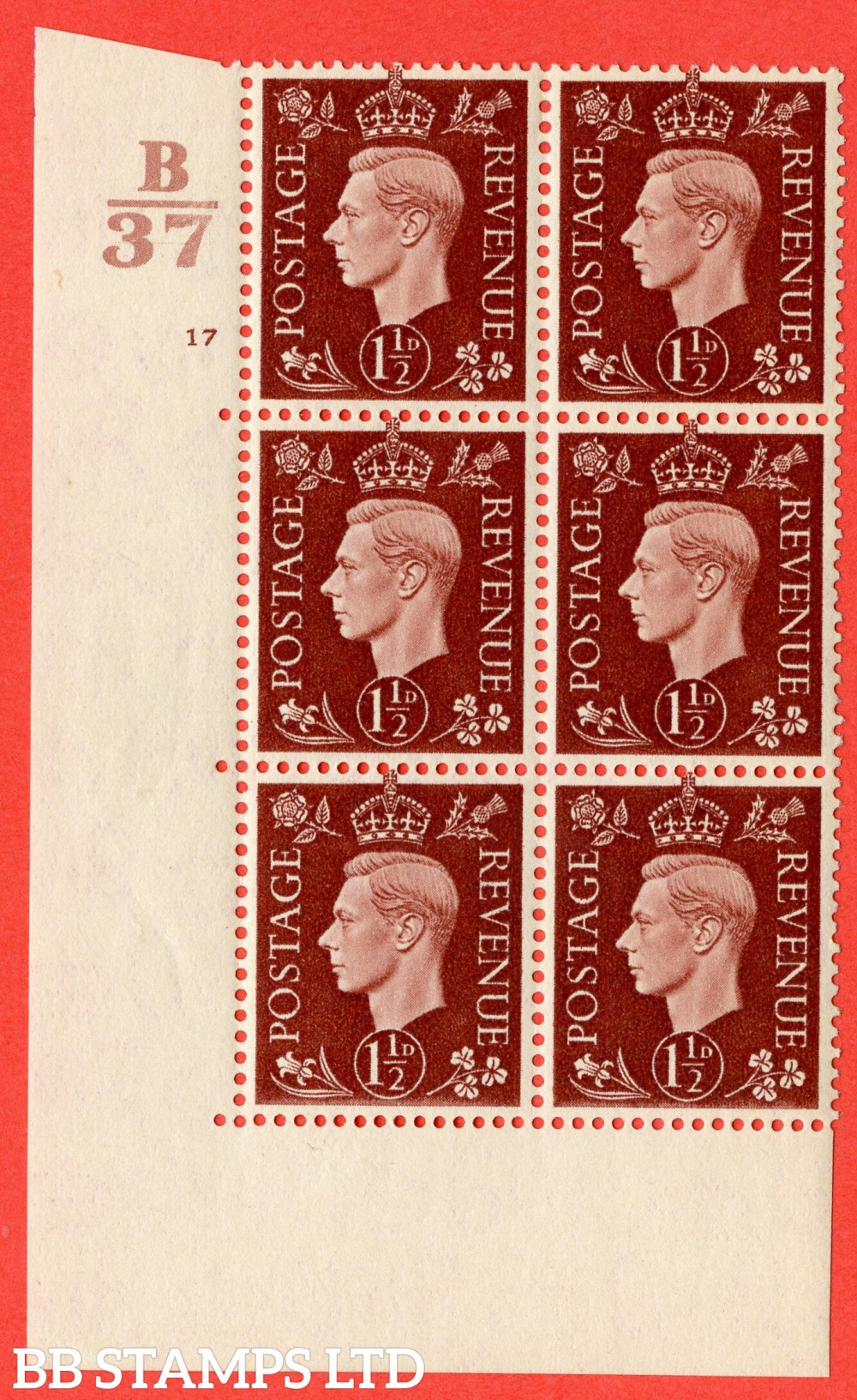 "SG. 464. Q7. 1½d Red-Brown. A fine lightly mounted mint  "" Control B37 cylinder 17 no dot "" block of 6 with perf type 5 E/I."