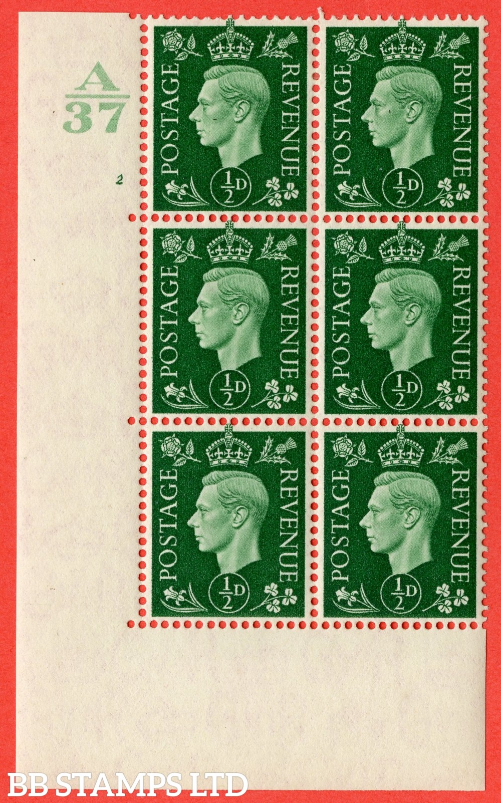 "SG. 462. Q1. ½d Green. A fine lightly mounted mint "" Control A37 cylinder 2 no dot "" block of 6 with perf type 5 E/I  without marginal rule."