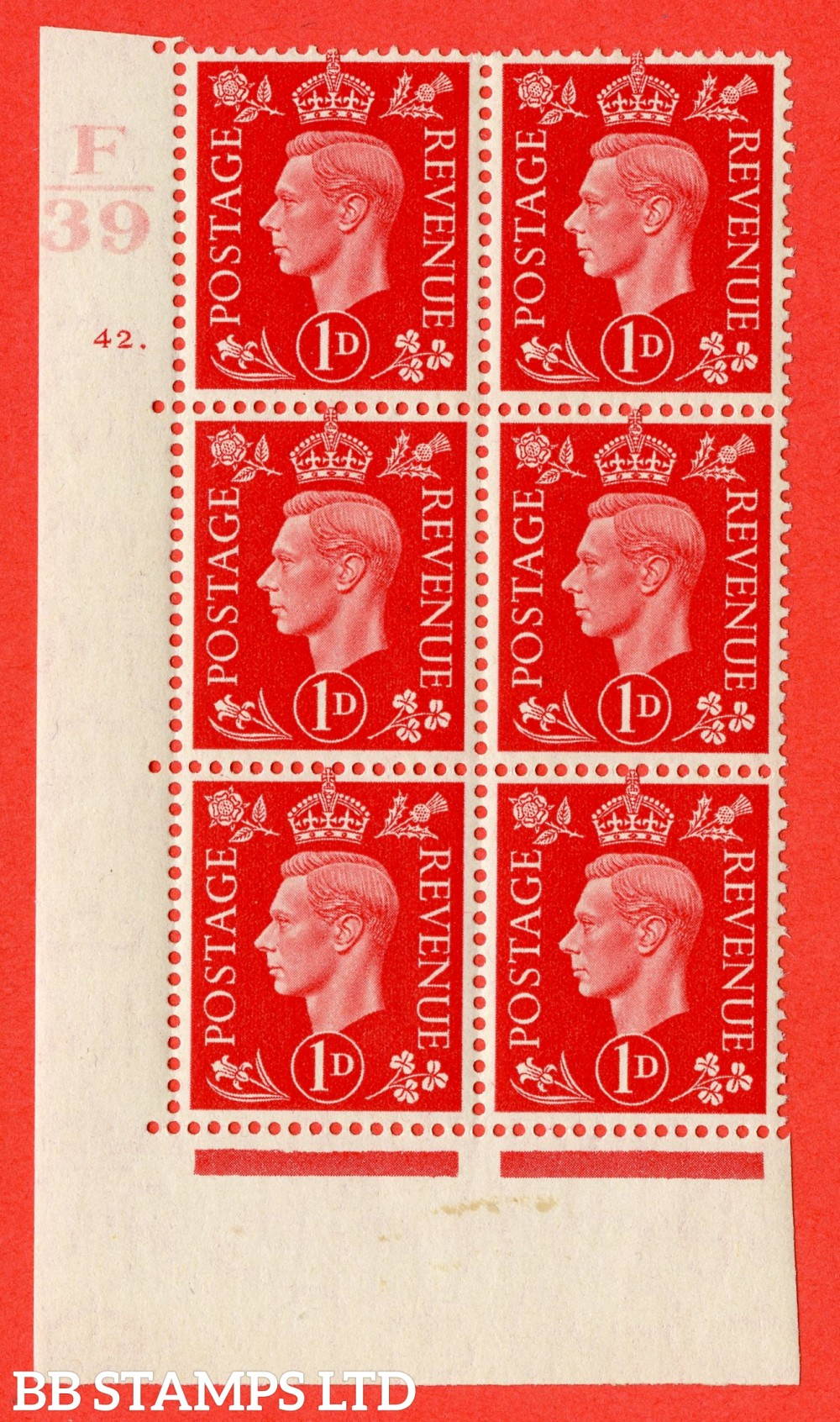 "SG. 463. Q4. 1d Scarlet. A fine lightly mounted mint "" Control F39 cylinder 42 dot "" block of 6 with perf type 5 E/I."