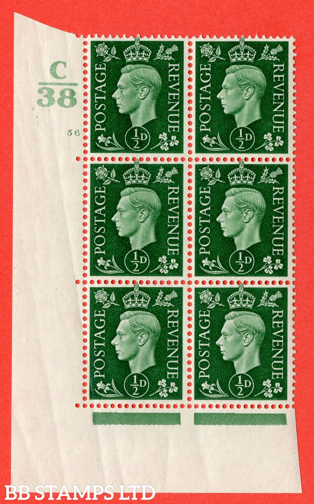 "SG. 462. Q1. ½d Green. A superb UNMOUNTED MINT "" Control C38 cylinder 56 no dot "" block of 6 with perf type 5 E/I. Slight creasing."