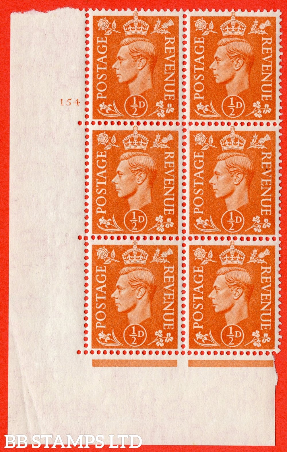 """SG. 503. Q3 g. ½d Pale Orange. A superb UNMOUNTED MINT """" No Control cylinder 154 no dot """" control block of 6 with perf type 5 E/I with listed variety """" Broken middle E of REVENUE """" Row 20/1."""