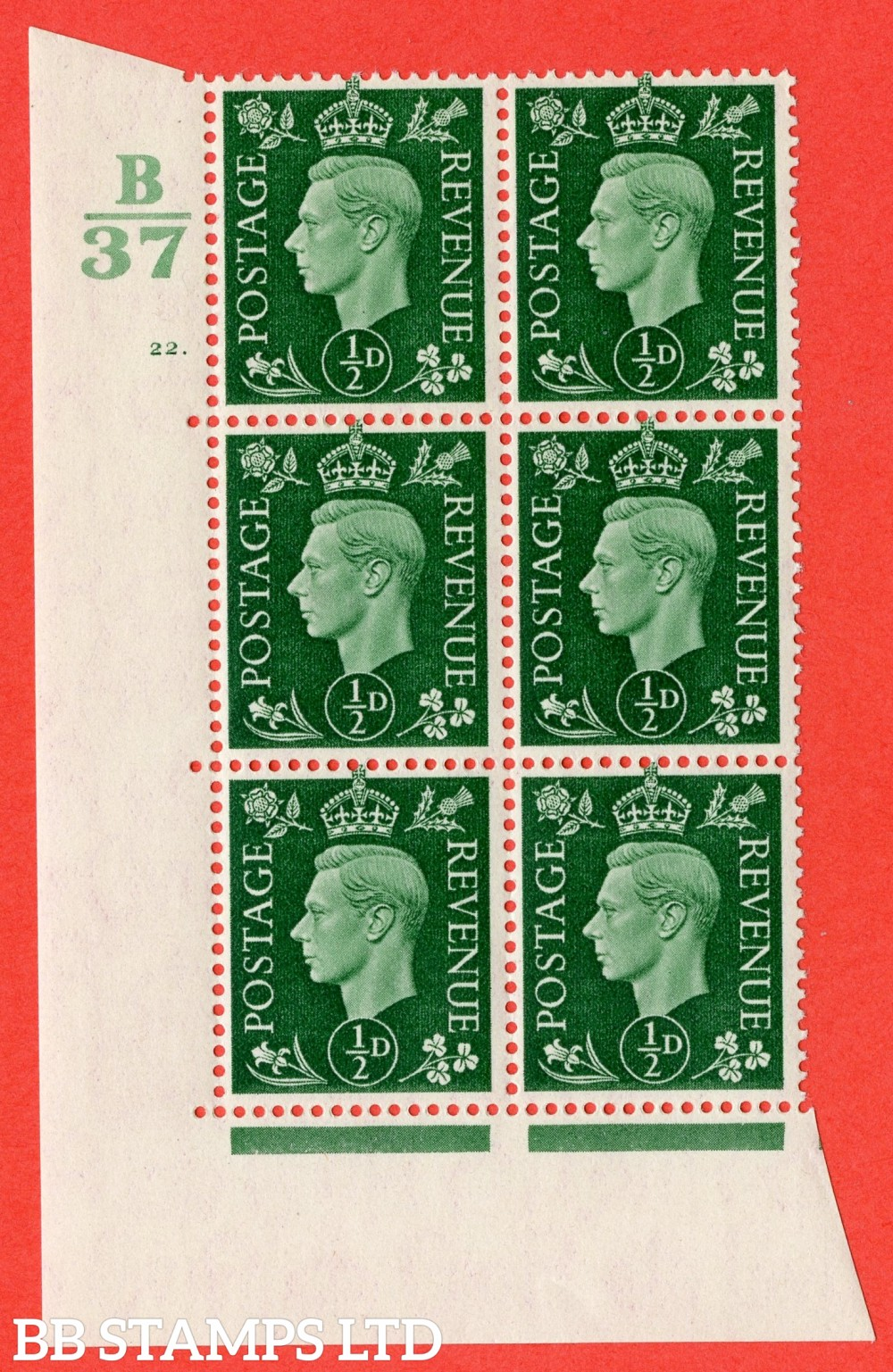 "SG. 462. Q1. ½d Green. A superb UNMOUNTED MINT "" Control B37 cylinder 22 dot "" block of 6 with perf type 5 E/I with marginal rule."