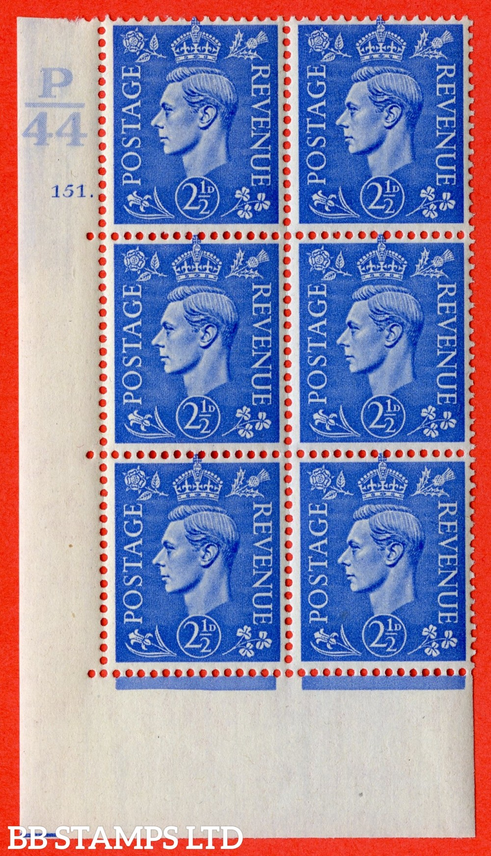 "SG. 489. Q14. 2½d Light ultramarine. A fine lightly mounted mint "" Control P44 cylinder 151 dot "" control block of 6 with perf type 5 E/I."