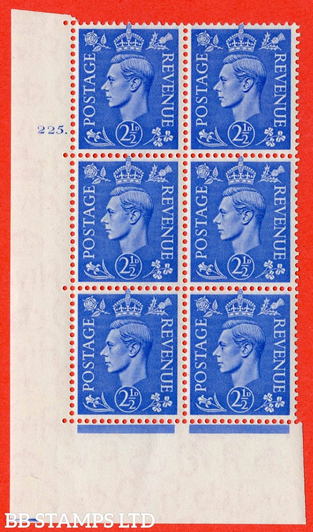 "SG. 489. Q14. 2½d Light ultramarine. A superb UNMOUNTED MINT "" No Control cylinder 225 dot "" control block of 6 with perf type 5 E/I"