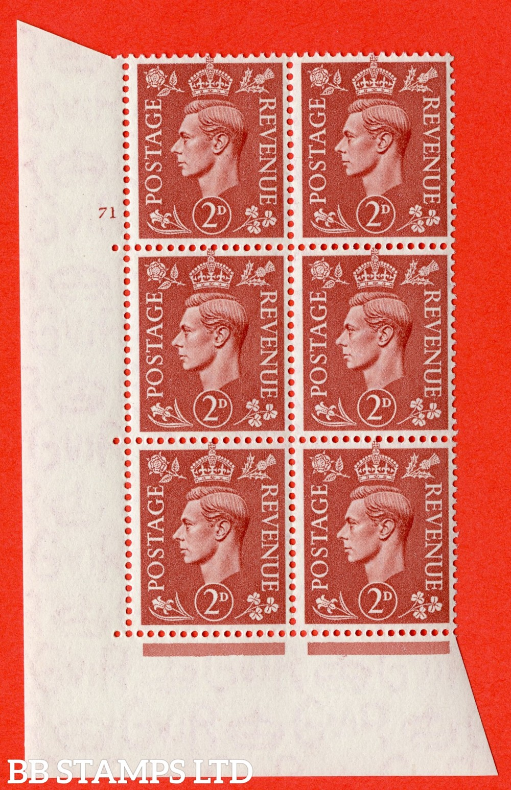 "SG. 506. Q12. 2d Pale Red-Brown. A superb UNMOUNTED MINT "" No Control cylinder 71 no dot "" control block of 6 with perf type 5 I/E."