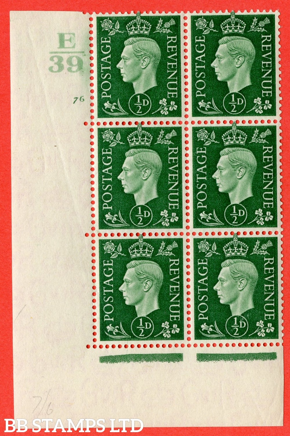 "SG. 462. Q1. ½d Green. A fine lightly mounted mint "" Control E39 cylinder 76 no dot "" block of 6 with perf type 5 E/I with marginal rule."