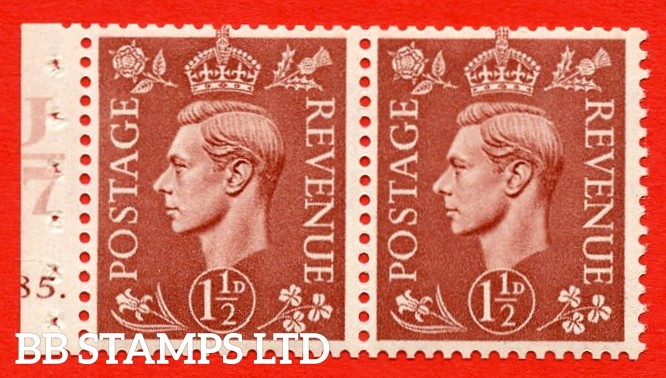 """SG. 487b. Q25. 1½d pale red brown. UNMOUNTED MINT. Complet cylinder pane of 2 185 Dot. Control U47 Perf Type """"E"""". Good Perfs."""
