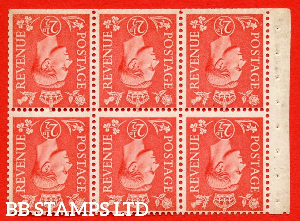 """SG. 507cw. QB34a. 2½d pale scarlet. A fine UNMOUNTED MINT Booklet pane of 6. Perf type """" Iet """". Trimmed Perfs."""