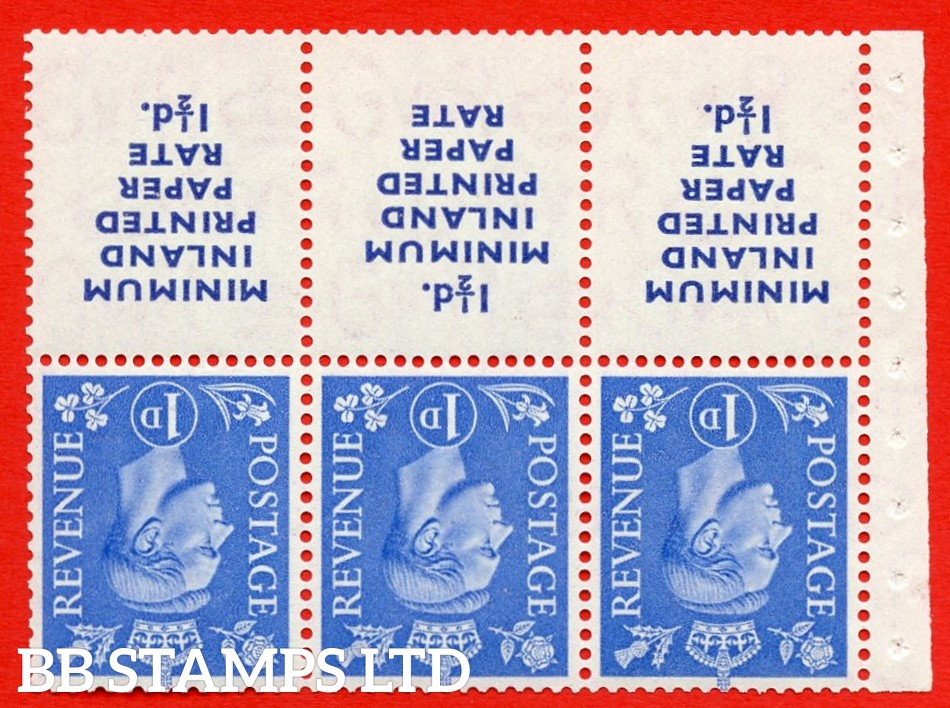"""SG. 504dw. QB19a. 1d ultramarine. A fine UNMOUNTED MINT. INVERTED WATERMARK complete booklet pane """" MINIMUM INLAND PRINTED PAPER RATE """" 15 mm high """". Perf type """" I """". Good Perfs."""
