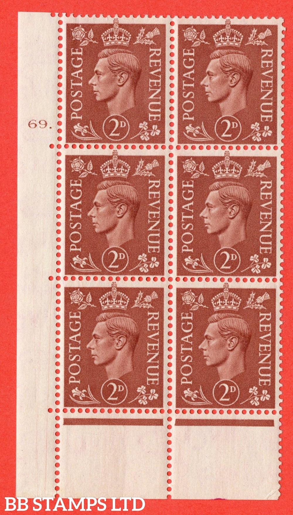 "SG. 506. Q12. 2d Pale Red-Brown. A superb UNMOUNTED MINT "" No Control cylinder 69 dot "" control block of 6 with perf type 6B E/I."