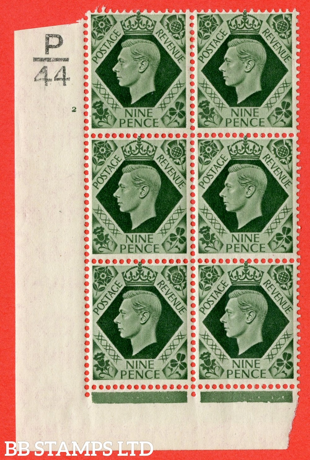 "SG. 473. Q25. b. 9d Olive-Green. A fine mounted mint "" Control P44 cylinder 2 no dot "" control block of 6 with perf type 2 I/E with listed variety "" Serif touched out but dot remains "" R18/1."