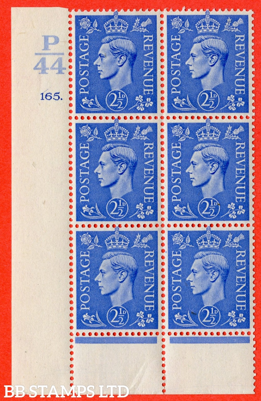 "SG. 489. Q14. 2½d Light ultramarine. A suberb UNMOUNTED MINT "" Control  P44 cylinder 165 dot "" control block of 6 with perf type 6 I/P."