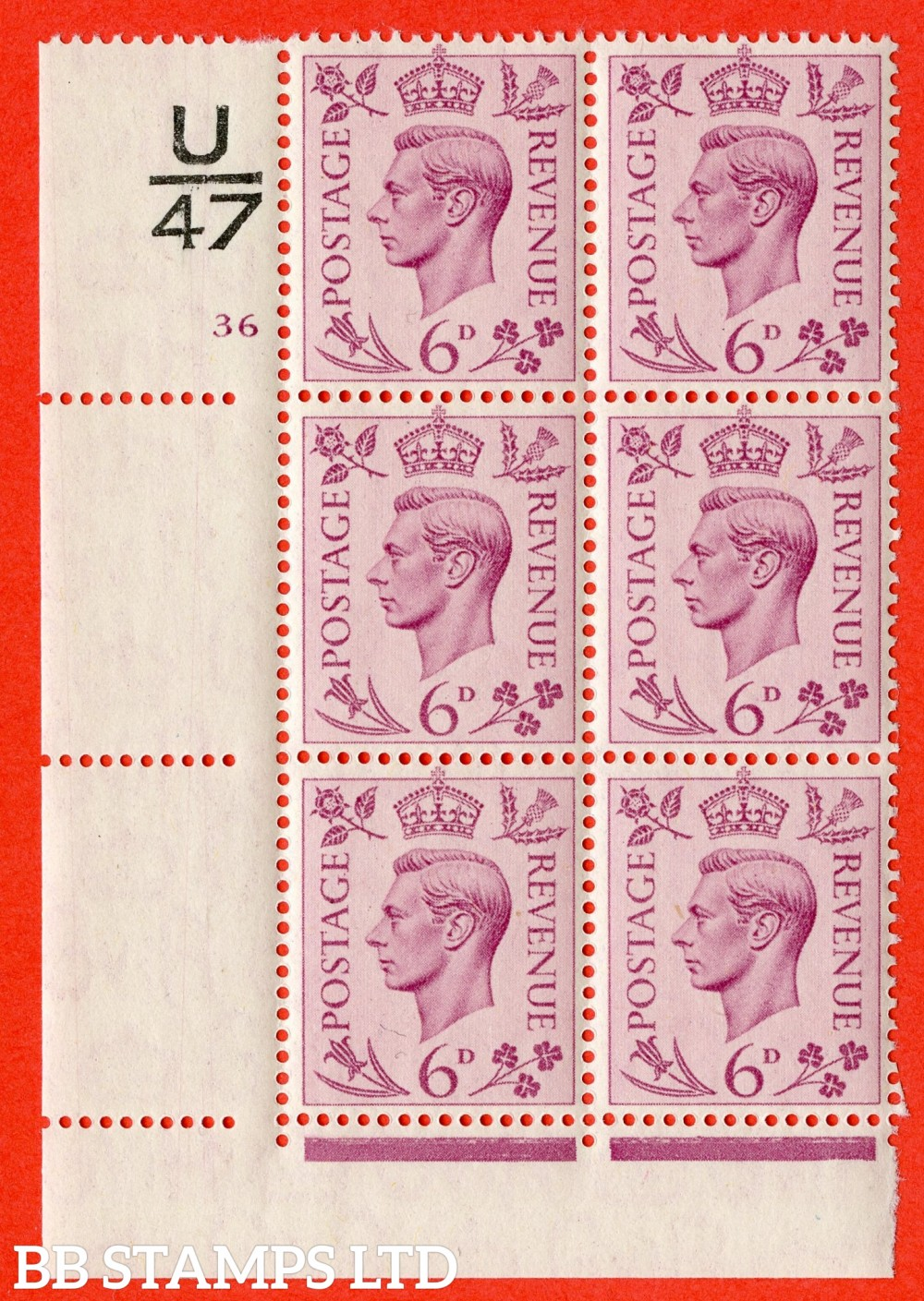 """SG. 470. Q22. 6d Purple. A superb UNMOUNTED MINT """" Control U47 cylinder 36 no dot """" control block of 6 with perf type 2 E/I."""