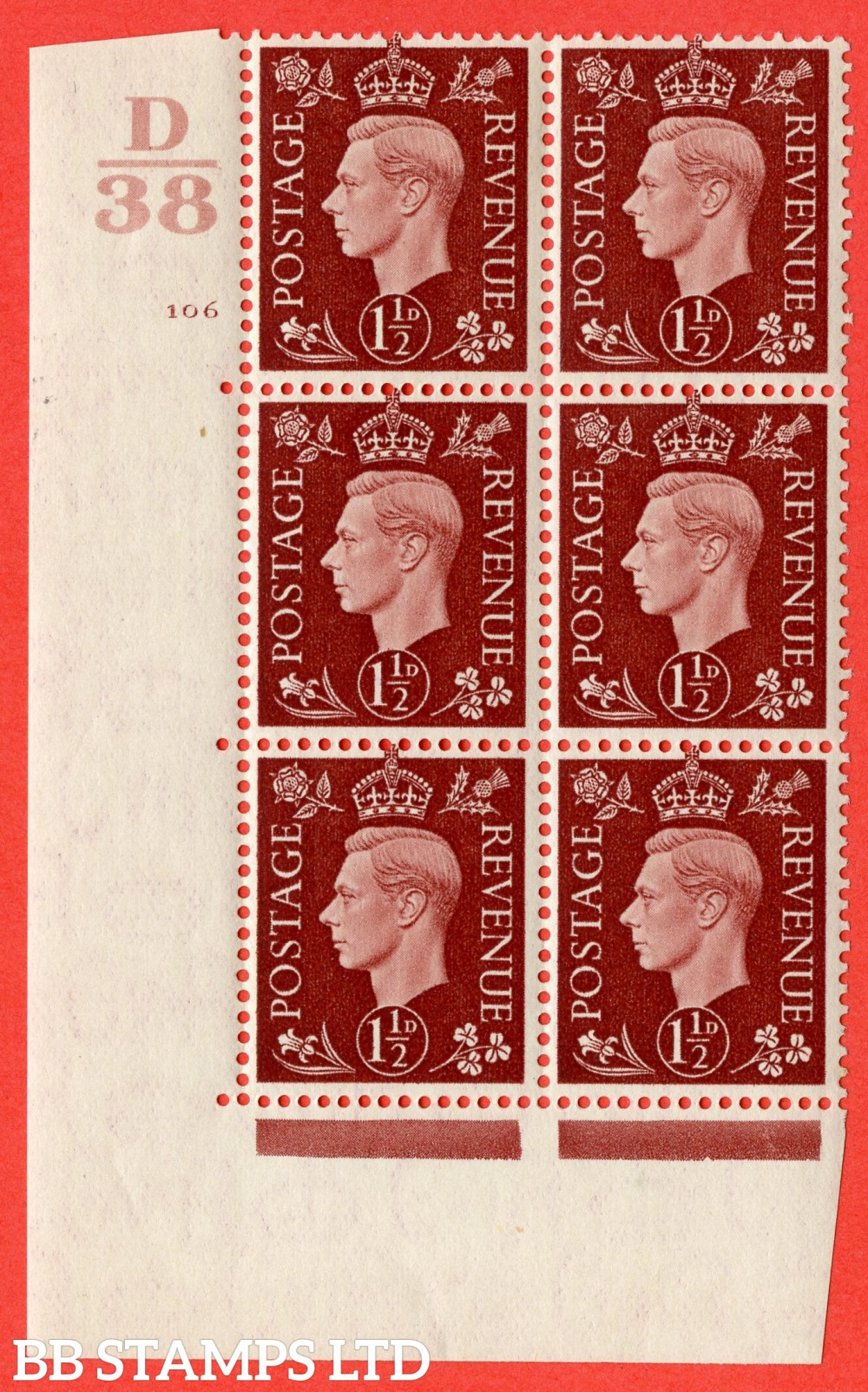 """SG. 464. Q7. 1½d Red-Brown. A fine lightly mounted mint """" Control D38 cylinder 106 no dot """" block of 6 with perf type 5 E/I."""