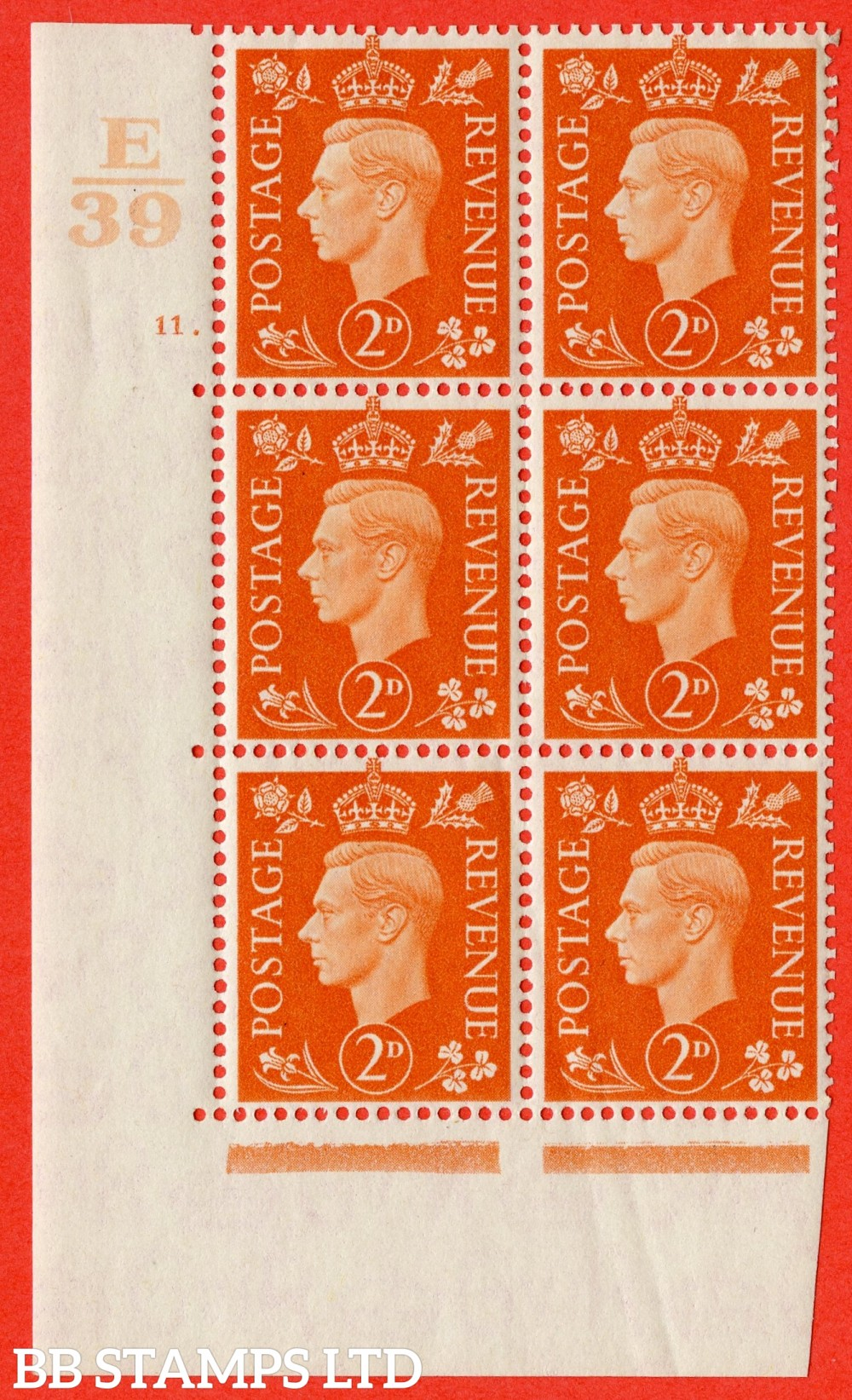 "SG. 465. Q10. 2d Orange. A superb UNMOUNTED MINT "" Control E39 cylinder 11 dot "" control block of 6 with perf type 5 E/P."