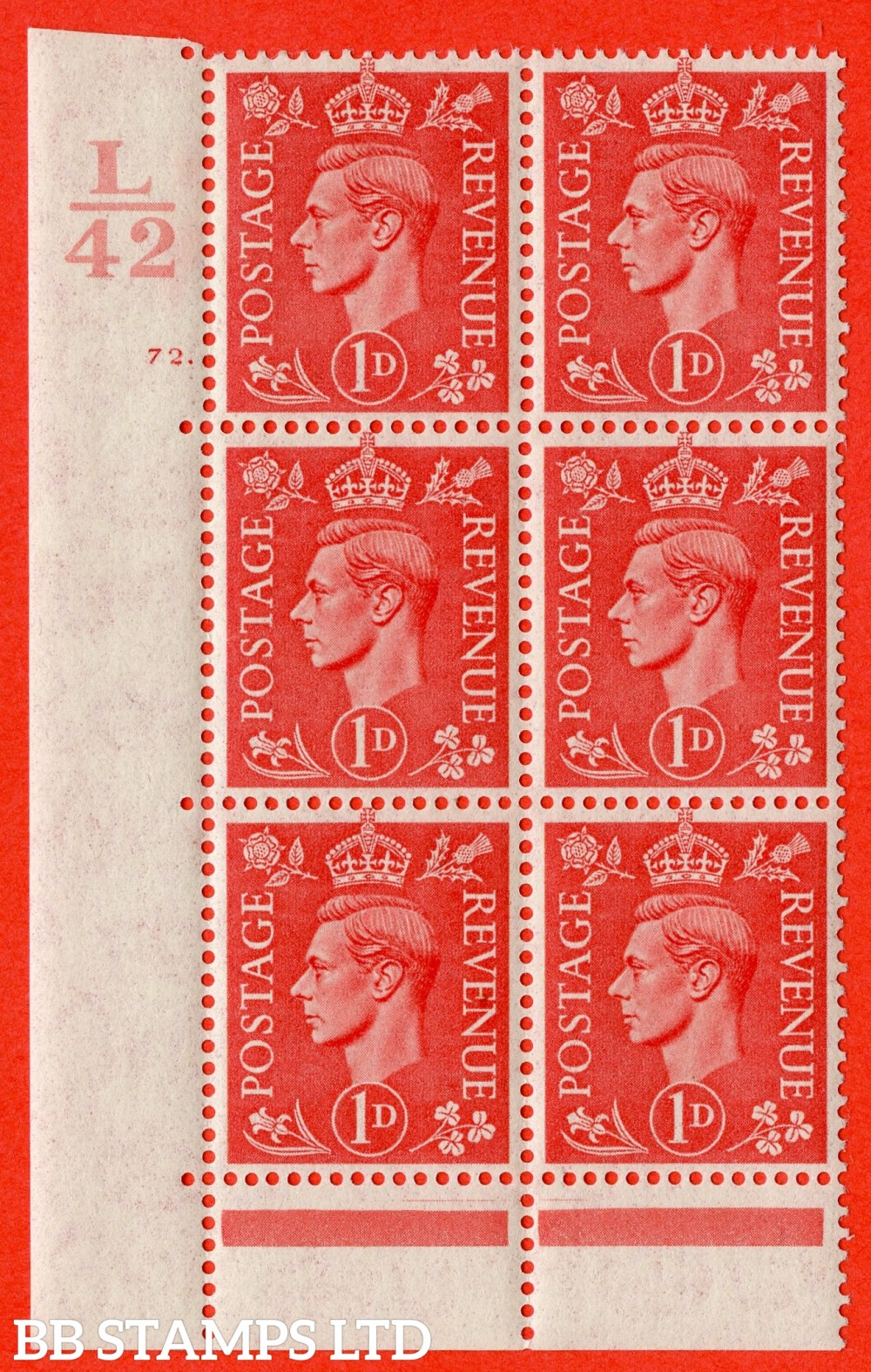 "SG. 486. Q5. 1d Pale scarlet. A fine lightly mounted mint "" Control L42  cylinder 72 dot "" control block of 6 with perf type 6B E/P."