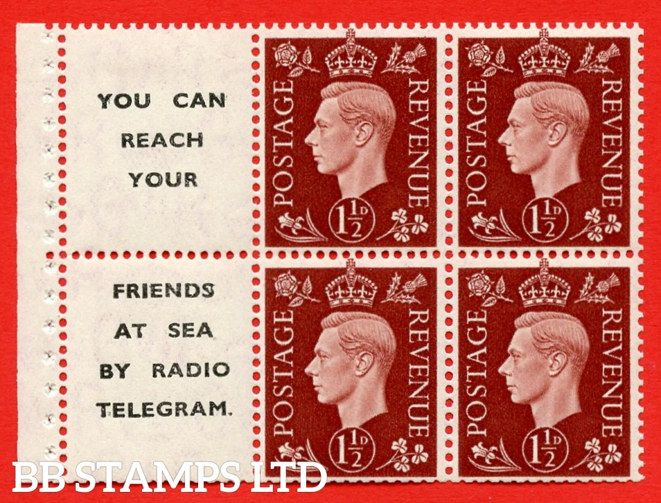 """QB23 Perf Type E (12) 1½d Red-Brown x 6 Pane, MOUNTED MINT.   ( SG. 464b ) Perf type E. """" You can reach your / friends at sea by Radio Telegram  """". Trimmed Perfs."""