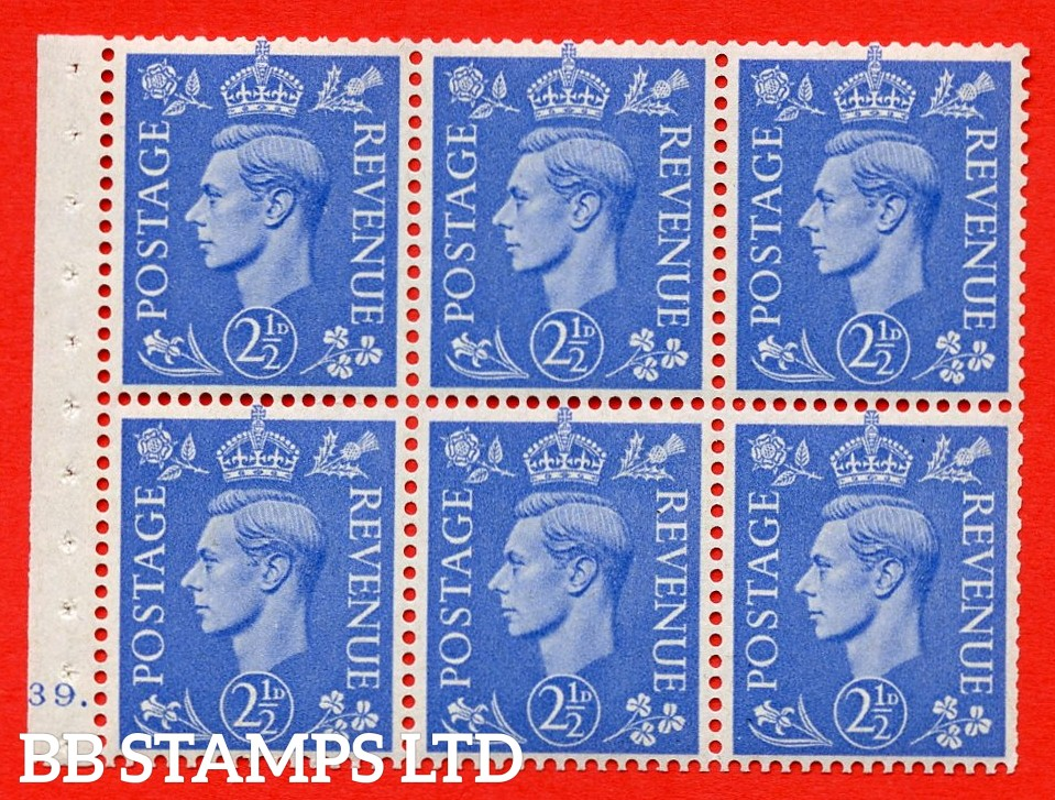 """SG. 489f. QB33. 2½d blue. A fine UNMOUNTED MINT complete Cylinder pane of 6 J39 dot. Perf type """"B6(IE)"""". Trimmed Perfs."""
