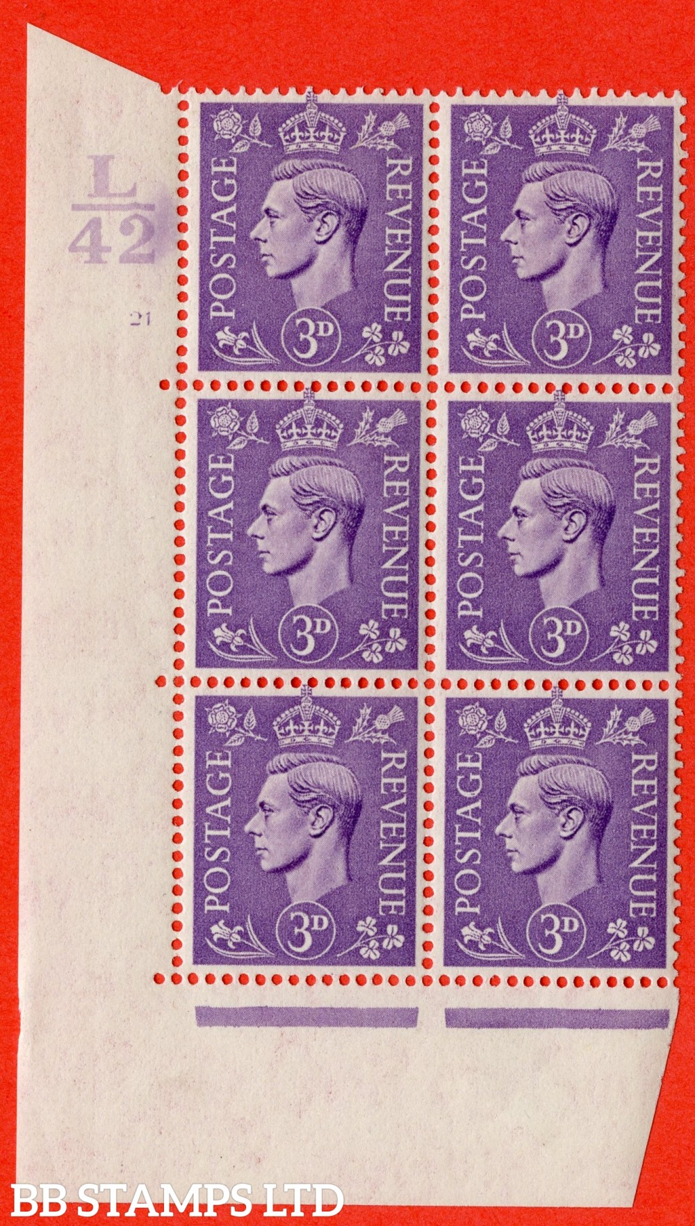"""SG. 490. Q17. 3d pale violet. A fine lightly mounted mint. """" Control L42 cylinder 21 no dot """" control block of 6 with perf type 5 E/I."""