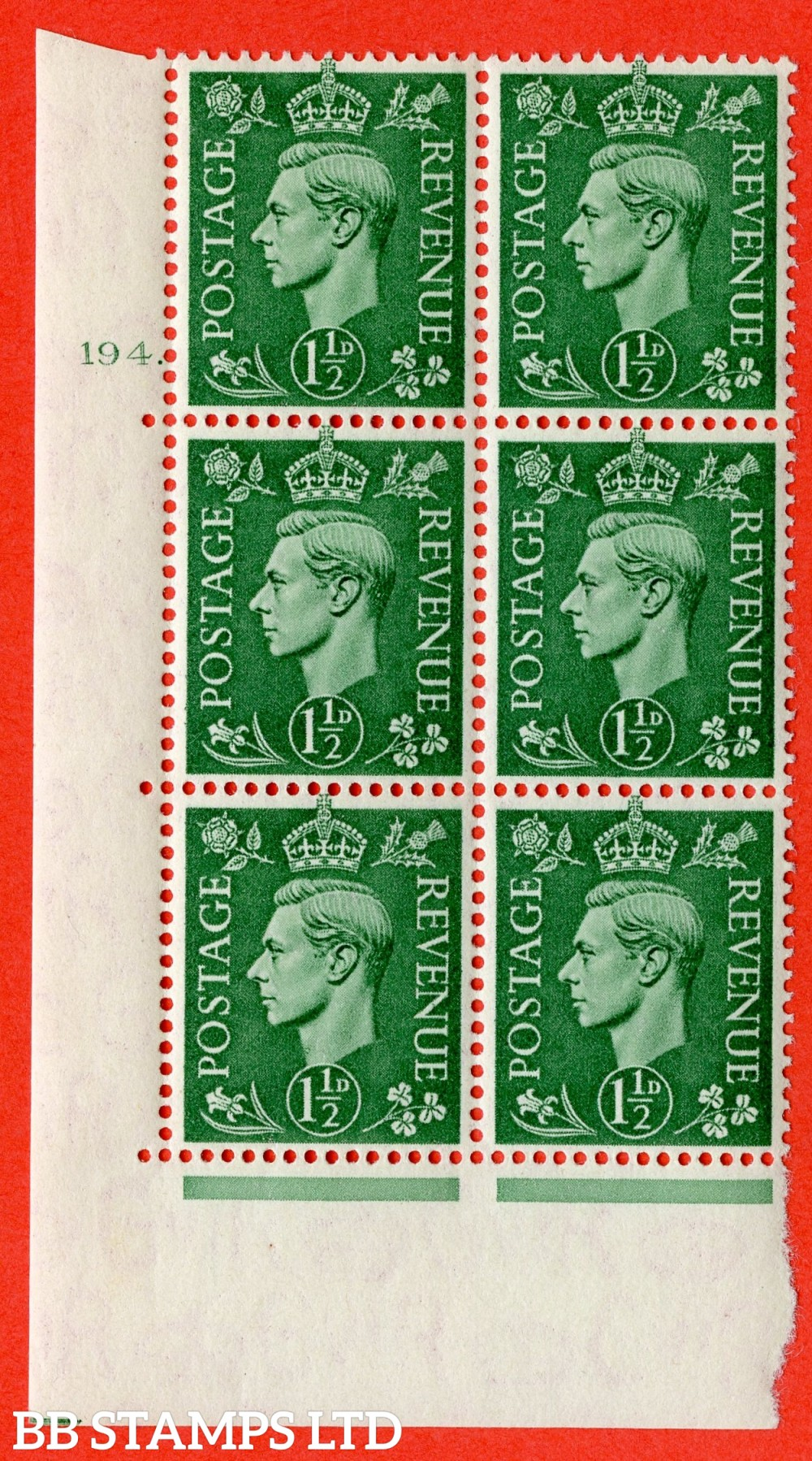 "SG. 505. Q9. 1½d Pale Green. A superb UNMOUNTED MINT "" No Control cylinder 194 dot "" control block of 6 with perf type 5 E/I"
