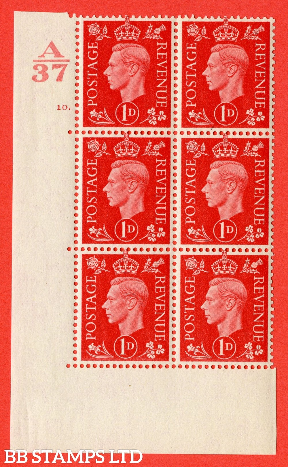 "SG. 463. Q4. 1d Scarlet. A very fine lightly mounted mint "" Control A37 cylinder 10 dot "" block of 6 with perf type 5 E/I without marginal rule."