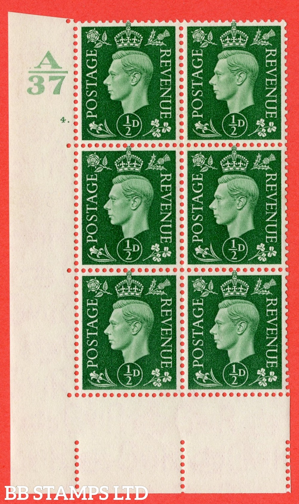 """SG. 462. Q1. ½d Green. A fine lightly mounted mint """" Control A37 cylinder 4 dot """" block of 6 with perf type 5 E/I without marginal rule."""