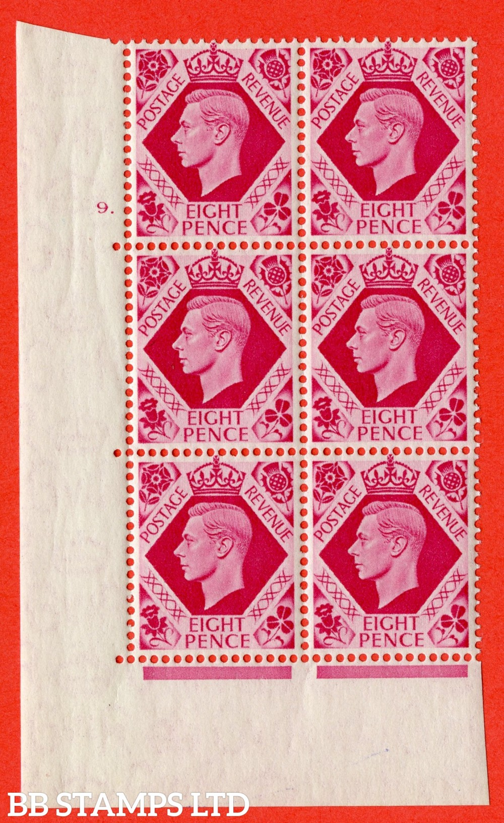 "SG. 472. Q24. 8d Bright Carmine. A fine lightly mounted mint "" No Control. Cylinder 9 dot "" control block of 6 with perf type 5 E/I"