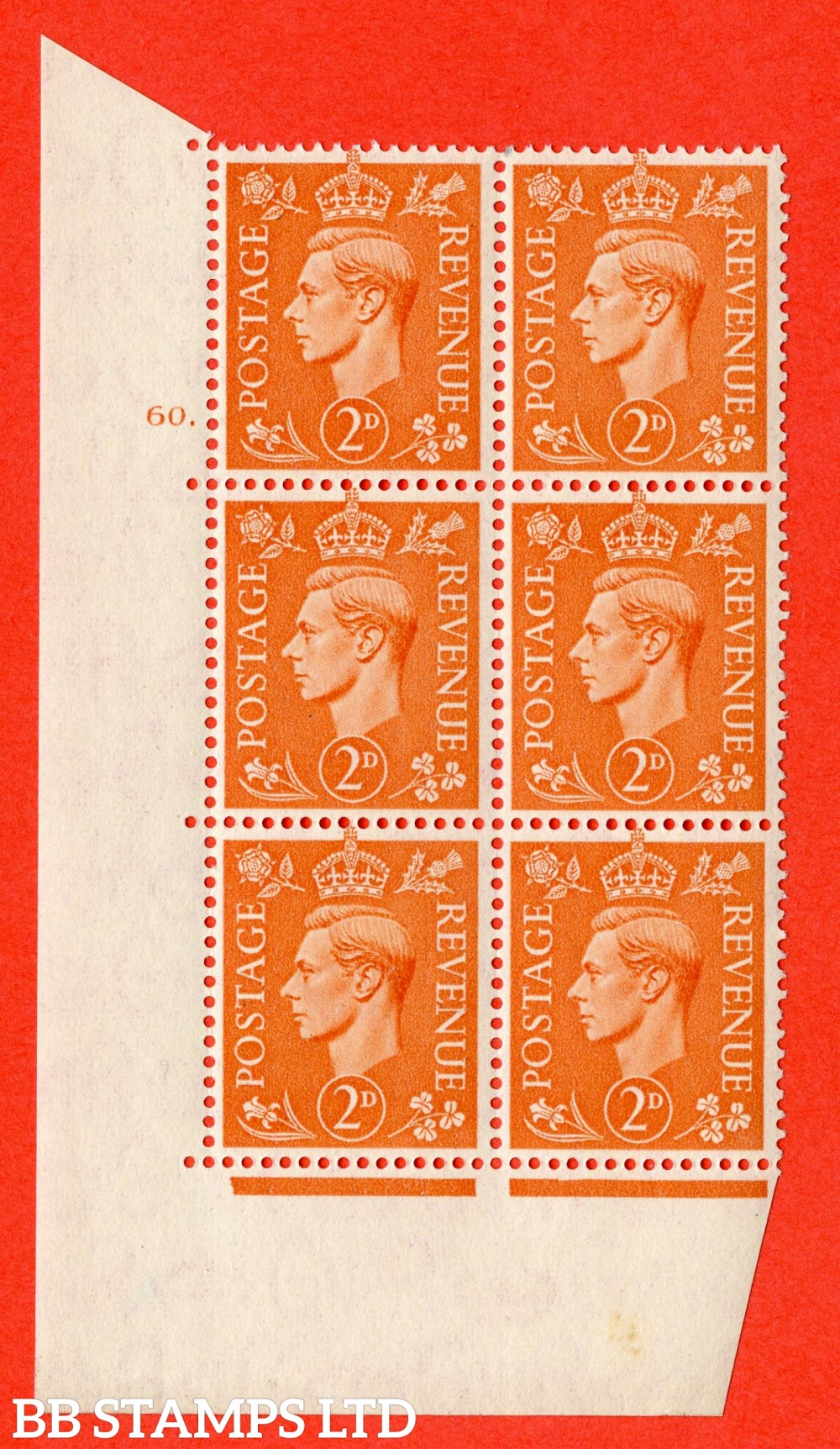 "SG. 488. Q11. 2d Pale Orange. A superb UNMOUNTED MINT "" No Control cylinder 60 dot "" control block of 6 with perf type 5 E/I"