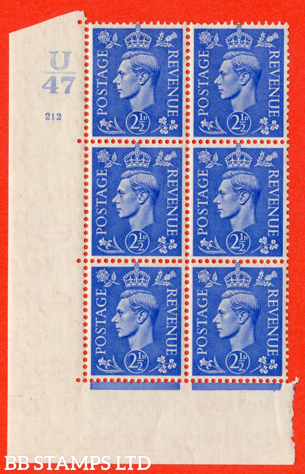 "SG. 489. Q14. 2½d Light ultramarine. A superb UNMOUNTED MINT "" Control U47 cylinder 212 no dot "" control block of 6 with perf type 5 E/I"