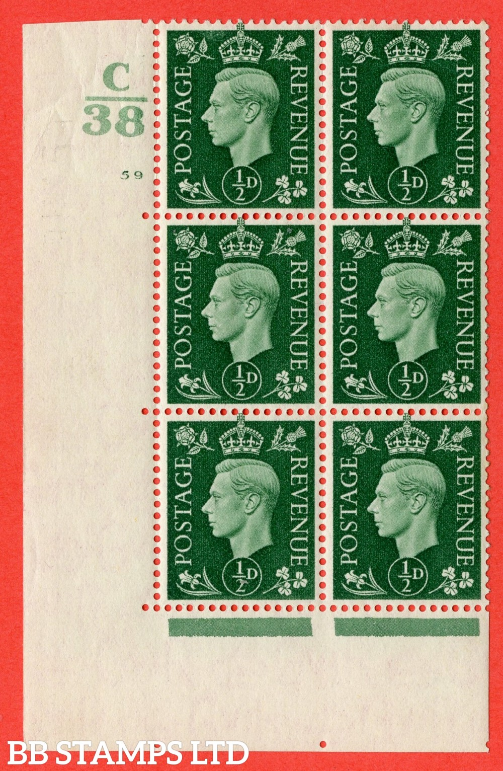 "SG. 462. Q1. ½d Green. A fine lightly mounted mint "" Control C38 cylinder 59 no dot "" block of 6 with perf type 5 E/I with marginal rule."