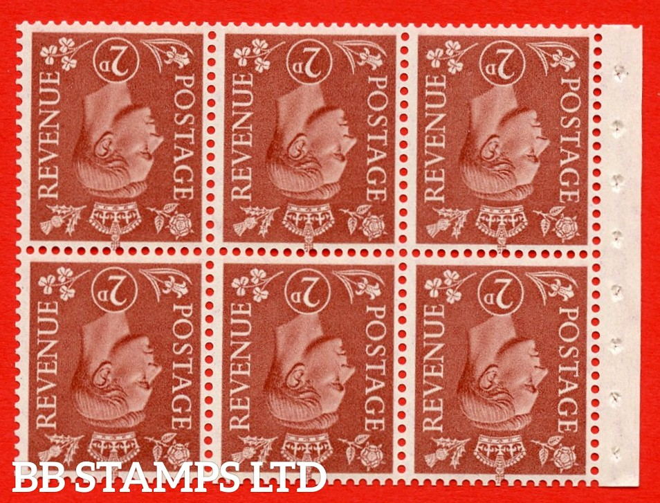 """SG. 506dw. QB31a. 2d pale red brown. A superb UNMOUNTED MINT. INVERTED WATERMARK complete booklet pane. Perf type """" Ieb """". Good Perfs."""