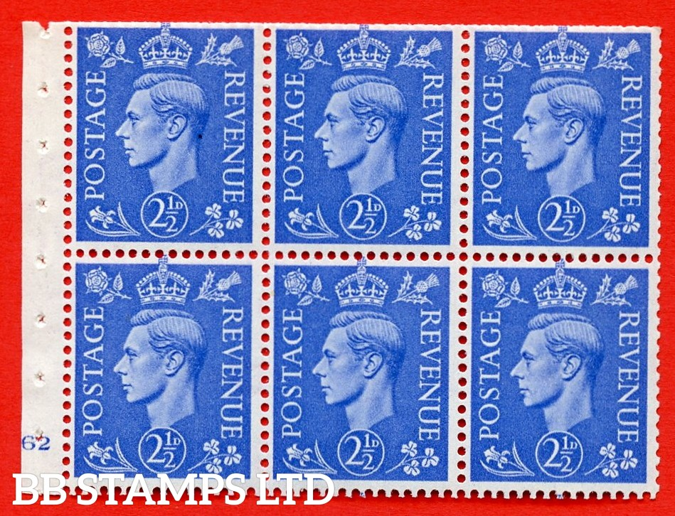 """SG. 489f. QB33. 2½d blue. A fine UNMOUNTED MINT complete Cylinder pane of 6 J62 No dot. Perf type """"B3(I)"""". Trimmed Perfs."""
