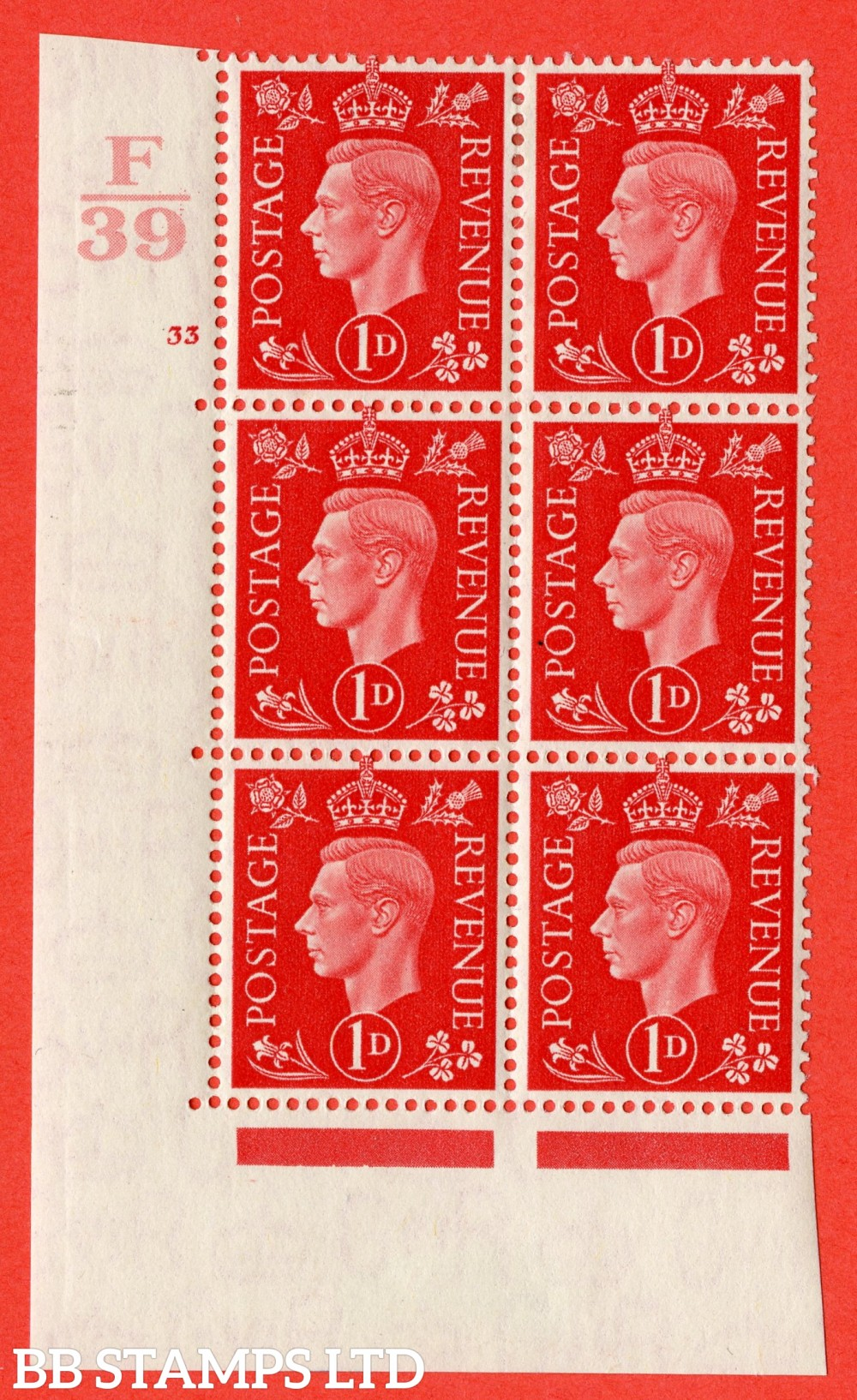 "SG. 463. Q4. 1d Scarlet. A fine lightly mounted mint "" Control F39 cylinder 33 no dot "" block of 6 with perf type 5 E/I."
