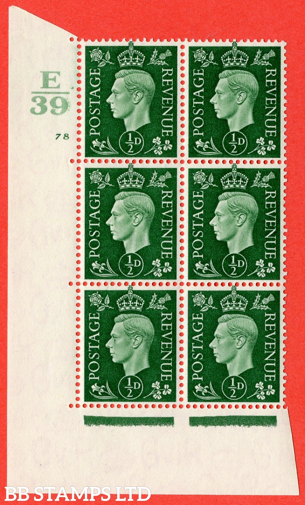 "SG. 462. Q1. ½d Green. A superb UNMOUNTED MINT "" Control E39 cylinder 78 no dot "" block of 6 with perf type 5 E/I."