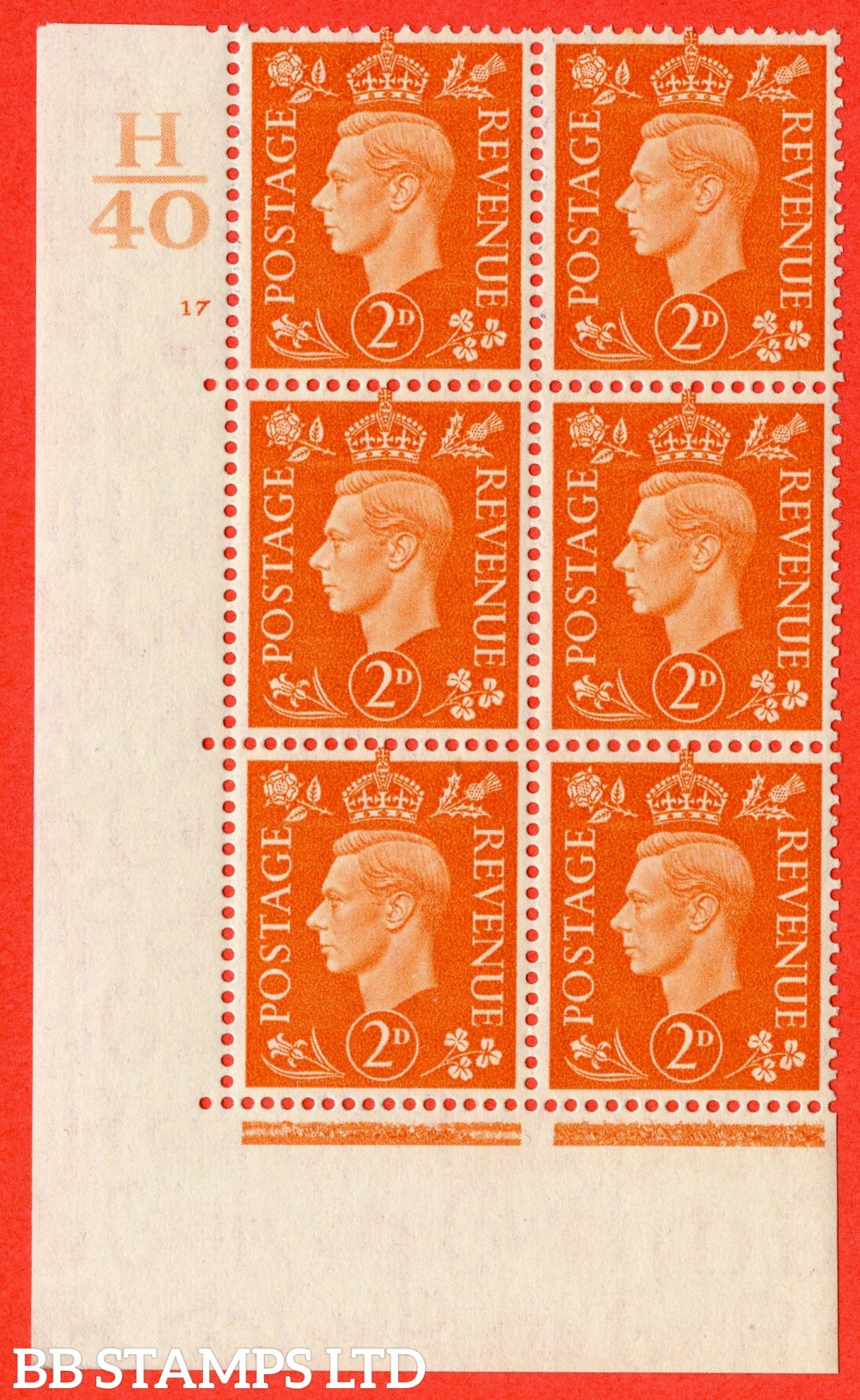 "SG. 465. Q10. 2d Orange. A superb UNMOUNTED MINT"" Control H40 cylinder 17 no dot "" control block of 6 with perf type 5 E/I."