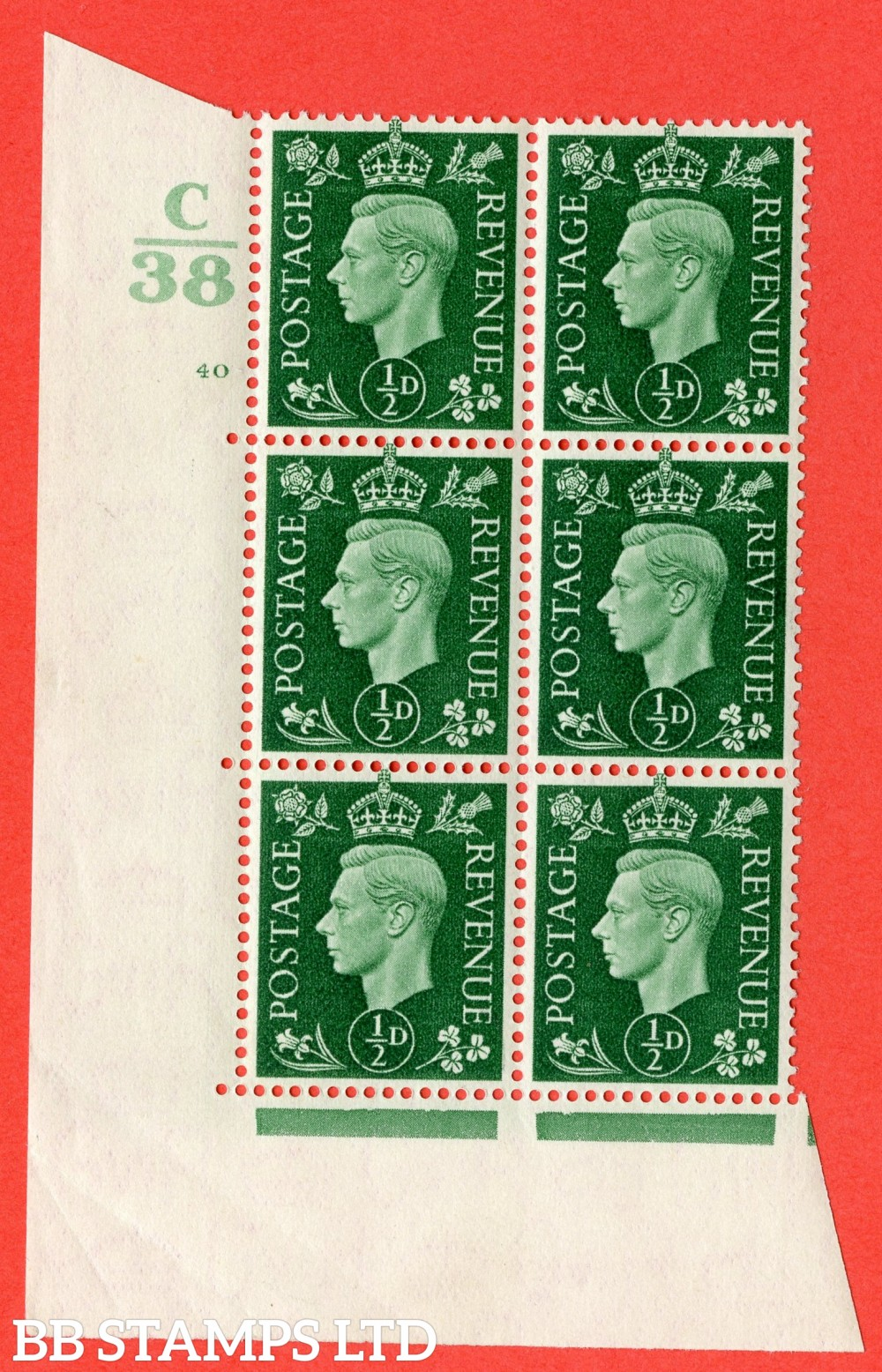 "SG. 462. Q1. ½d Green. A superb UNMOUNTED MINT "" Control C38 cylinder 40 no dot "" block of 6 with perf type 5 E/I."